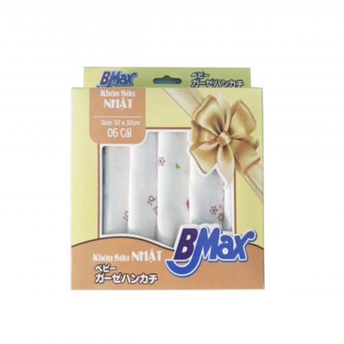 Khăn sữa Bmax in hình cao cấp 32 x 32  (6 cái)